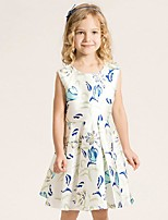 Girl's Casual/Daily Print DressCotton Summer / Spring Blue