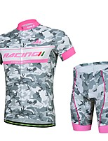 Men's Summer Professional Cycling Gray Shirt Bicycle Breathable Quick Dry Jersey + Bike 3D Cushion Pad Shorts Suit