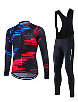 Fastcute® Cycling Jersey with Bib Tights Men's Long Sleeve BikeBreathable / Lightweight Materials / 3D Pad / Back Pocket / Sweat-wicking