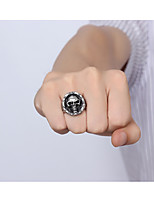 Skeleton Rock Retro Drawing Titanium Steel Men's Ring