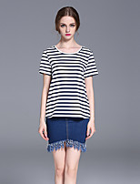 FRMZ  Women's Casual/Daily Simple Summer T-shirtStriped Round Neck Short Sleeve White