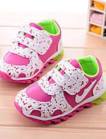 Unisex Sneakers Fall PU Athletic Flat Heel Magic Tape Blue Pink