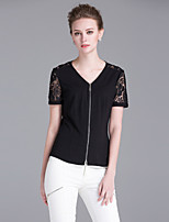 Sarahdean Women's Going out Sophisticated Summer T-shirtPatchwork V Neck Short Sleeve Black Rayon / Polyester Medium