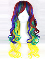 Europe And The United States The New Color For Cosplay Anime Red Blue Yellow Gradient Female Long Hair Wigs