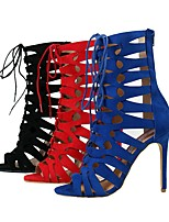 Women's Sandals Summer Ankle Strap Fabric Party & Evening / Dress / Casual Stiletto Heel Zipper / Lace-up Black / Blue