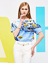 I'HAPPY Women's Going out Vintage Spring / Fall T-shirtFloral Round Neck Short Sleeve Blue Polyester