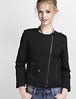 NAKED ZEBRA Women's Round Neck Long Sleeve Jackets Black-UJ21013