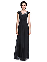 Lanting Bride Sheath / Column Mother of the Bride Dress - Elegant Floor-length Sleeveless Chiffon with Lace