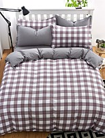Bedtoppings Comforter Duvet Quilt Cover 4pcs Set Queen Size Flat Sheet Pillowcase Grey  Cheque Prints Microfiber