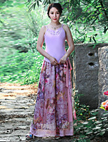 Our Story Women's Floral Pink / Purple Loose PantsChinoiserie Spring / Fall
