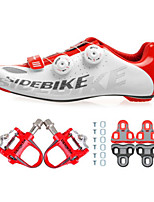Cycling Shoes Unisex Outdoor / Road Bike 02 Sneakers Damping / Cushioning White / Red-sidebike And Red Lock Pedals