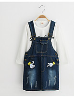 Girl's Casual/Daily Print Dress / JeansCotton / Rayon Spring / Fall White