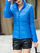 Women's Solid Blue / Pink / Red / White / Black / Green Padded CoatSimple Stand Long Sleeve