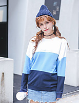 Women's Casual/Daily Street chic Regular HoodiesColor Block Blue / Red Round Neck Long Sleeve Cotton Fall / Winter