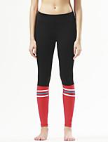 calças de yoga Meia-calça Respirável / Secagem Rápida / Compressão / Confortável Natural Stretchy Wear Sports Vermelho / Preto Mulheres