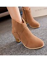Women's Boots Spring Fall Winter Combat Boots PU Outdoor Chunky Heel Others Black Khaki Almond Others