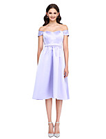 Lanting Bride® Knee-length Satin Bridesmaid Dress - Elegant A-line Off-the-shoulder with Sash / Ribbon
