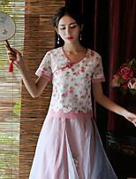 Damen Stickerei Chinoiserie Ausgehen T-shirt,Sweetheart Sommer Kurzarm Rosa Polyester Mittel