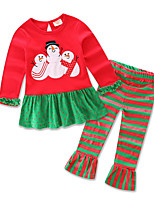 Girl's Party/Cocktail Chirstmas  Print Clothing SetCotton All Seasons / Spring / Fall Red