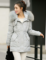 Women's Long CoatSimple Casual/Daily Solid-Polyester Polypropylene Long Sleeve Hooded Pink / Gray