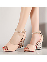 Women's Sandals Spring Fall PU Outdoor Chunky Heel Imitation Pearl Blue Pink Walking