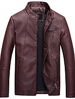 Мужской Полиуретановые Куртка На каждый день,Однотонный,Длинный рукав,Черный / Коричневый / Красный