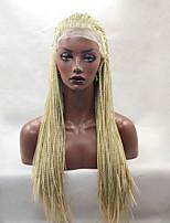 Мода длинные прямые косички синтетический парик фронта шнурка Glueless блондинка женщин цвета парики