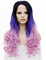 IMSTYLE 24Dark Root Purple Pink Ombre Wave Synthetic Lace Front Wig Soft Lace