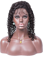 No shedding No tangle Loose Curly Color 1B Light Brown Swiss Lace 130% density Human Hair Lace Front Wig