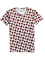 New Fashion Men Poker  Printed Crew Neck Short Sleeve Men 3d T-shirt
