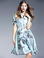 Women's Plus Size / Going out Vintage Swing DressFloral Shirt Collar Knee-length Short Sleeve Blue Polyester