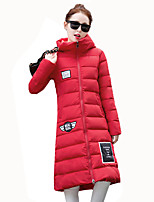 Women's Thick Fashion All Match Warm Padded Coat Print Letter Simple Hooded Long Sleeve