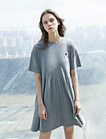 NEATO Women's Casual/Daily Simple Loose DressPrint Round Neck Above Knee Short Sleeve Gray Cotton Summer
