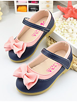 Girl's Loafers & Slip-Ons Spring Fall PU Dress Casual Low Heel Bowknot Magic Tape Blue Beige Other