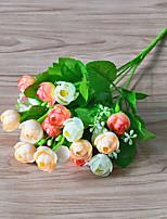1 1 Филиал Полиэстер / Пластик Розы Букеты на стол Искусственные Цветы 12.5inch/32cm