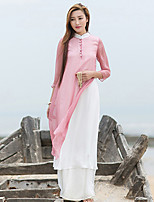 Ramie Cotton Women's Casual/Daily Chinoiserie Loose DressSolid Stand Knee-length  Sleeve Pink