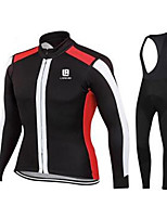 Sports Cycling Jersey with Bib Tights Unisex Long Sleeve BikeBreathable / Quick Dry / Windproof / Anatomic Design / Ultraviolet Resistant
