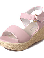 Women's Sandals Summer Sandals PU Casual Wedge Heel Buckle Blue / Pink / Beige Others