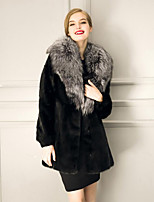 Women's Plus Size / Casual/Daily Street chic Fur CoatSolid Shirt Collar Long Sleeve Winter White / Black Faux Fur Thick