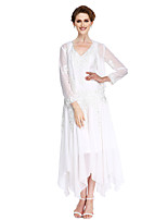 Lanting Bride®A-line Mother of the Bride Dress Asymmetrical Long Sleeve Chiffon with Appliques / Beading