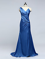 Formal Evening Dress Sheath / Column One Shoulder Court Train Chiffon with Side Draping