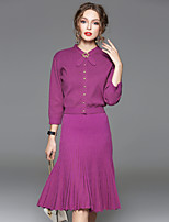 CELINEIA Women's Going out Simple Spring / Fall Set SkirtSolid Stand  Sleeve Purple Cashmere / Wool / Polyester Opaque