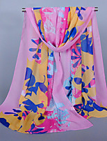 Women's Chiffon Leaf Print Scarf Pink/Watermelon/Blue/White