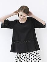 IDYLL ISLAND  Women's Casual/Daily Simple Fall ShirtSolid V Neck Length Sleeve Black Cotton / Linen Thin