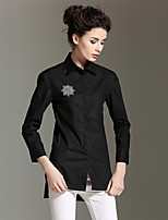 BURDULLY  Going out Simple Spring / Fall T-shirtSolid Shirt Collar Long Sleeve White / Black Cotton Medium