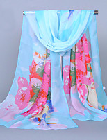 Women's Chiffon Flowers Print Scarf Blue/Yellow/Orange/Pink/Green