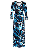 Women's Plus Size Boho Loose DressPrint V Neck Maxi Long Sleeve Blue Polyester Spring / Fall High Rise Stretchy Medium