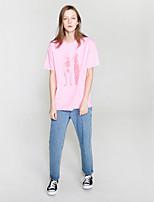 NEATO  Women's Going out Simple Summer T-shirtPrint Round Neck Short Sleeve Pink Cotton Medium