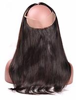 8''-20'' Черный 360 Лобовой Естественные кудри Человеческие волосы закрытие Умеренно-коричневый Швейцарское кружево 100g грамм Средние