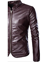 Men's Long Sleeve Casual JacketGoatskin Solid Black / Red